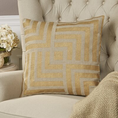 Messina Linen Pillow Size: 18 H x 18 W x 4 D, Color: Gold / Beige, Filler: Down