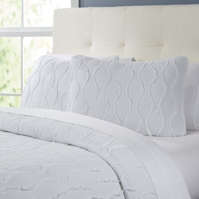 Wavy S Ruffled Quilt Set Size: Full/Queen, Color: Bright White