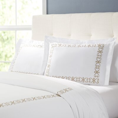 Balsam Duvet Set Color: White / Taupe, Size: Full / Queen