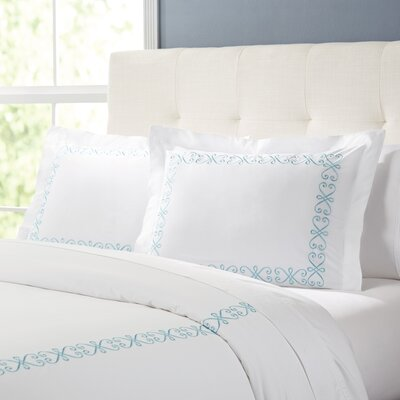 Balsam Duvet Set Color: White / Teal, Size: Full / Queen
