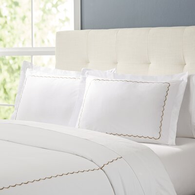 Primrose Duvet Set Color: White / Taupe, Size: Full / Queen