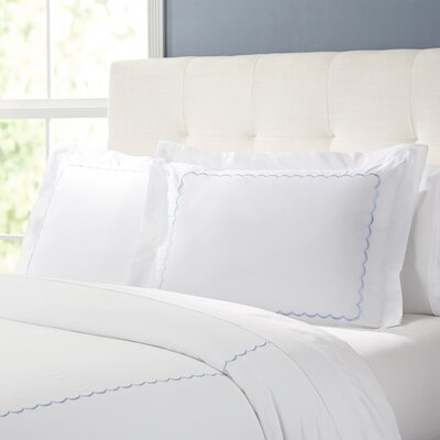 Primrose Duvet Set Color: White / Blue, Size: King