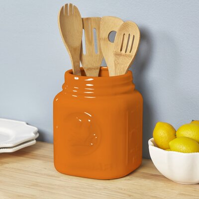 Mason Jar Utensil Holder Color: Orange