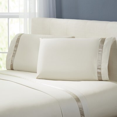 Coolidge 400 Thread Count Cotton Sheet Set Size: Full, Color: Linen / Taupe