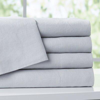 Bernadette Washed Belgian Linen Sheet Set Color: Silver Gray, Size: King