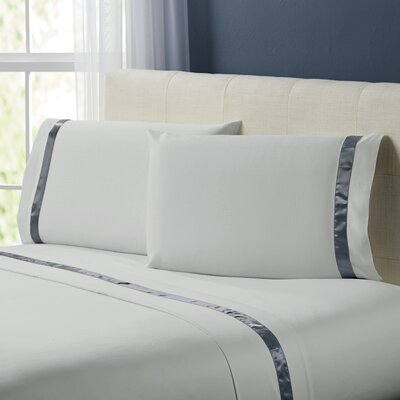 Coolidge 400 Thread Count Cotton Sheet Set Size: California King, Color: Silver / Charcoal