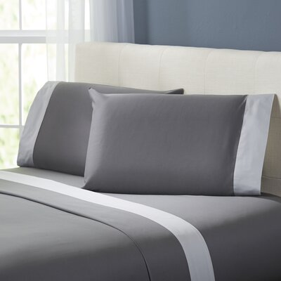 Bilbrey 400 Thread Count Sheet Set Size: King, Color: Charcoal / Silver