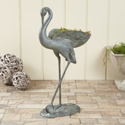 Graceful Crane Metal Statue Planter