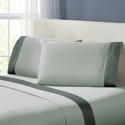 Bilbrey 400 Thread Count Sheet Set Size: Queen, Color: Silver / Charcoal