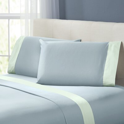Bilbrey 400 Thread Count Sheet Set Size: Queen, Color: Blue / Soft Jade