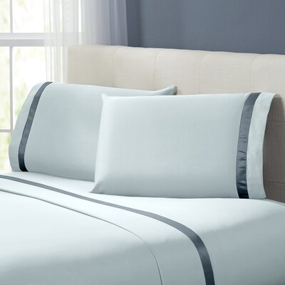 Coolidge 400 Thread Count Cotton Sheet Set Size: Twin, Color: Blue / Celestial Blue
