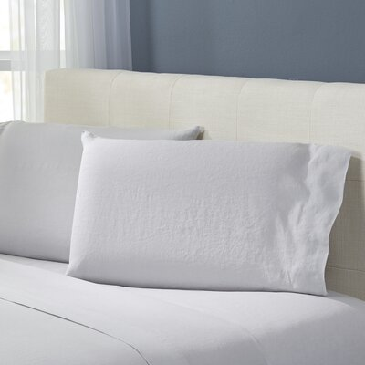 Bernadette Washed Belgian Linen Pillowcases Color: Silver