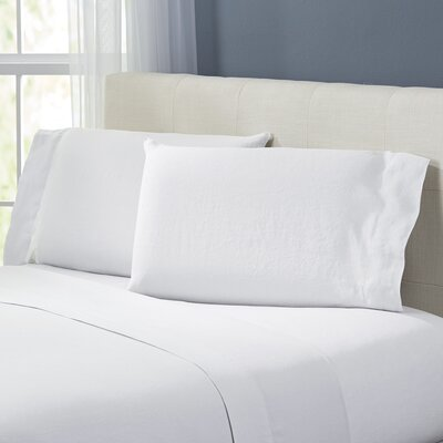 Bernadette Washed Belgian Linen Sheet Set Color: Eggshell White, Size: Queen