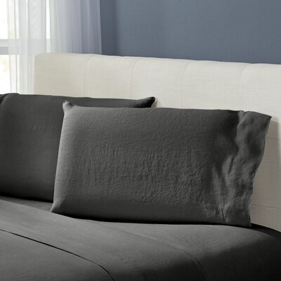 Bernadette Washed Belgian Linen Pillowcases Color: Slate Grey