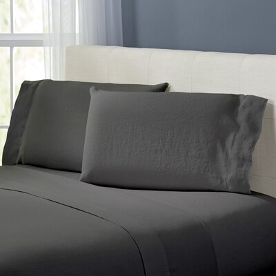 Bernadette Washed Belgian Linen Sheet Set Color: Slate Gray, Size: King