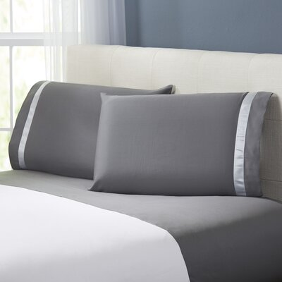 Coolidge 400 Thread Count Cotton Sheet Set Size: King, Color: Charcoal / Silver
