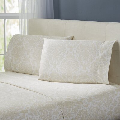 Henrietta Damask Sheet Set Color: Ivory, Size: King