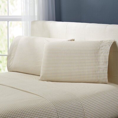 Alberta Gingham 250 Thread Count Sheet Set Size: King, Color: Khaki