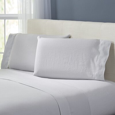 Bernadette Washed Belgian Linen Sheet Set Color: Silver Gray, Size: Full
