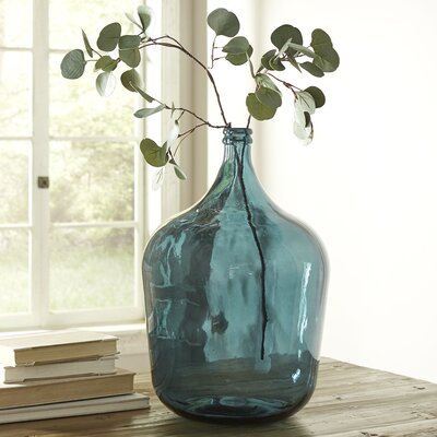Angeletta Recycled Glass Vase Color: Dark Blue