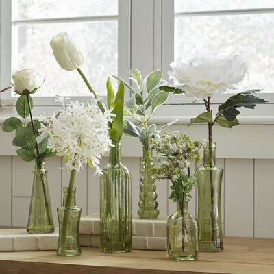 6-Piece Green Glass Vases with Faux Florals