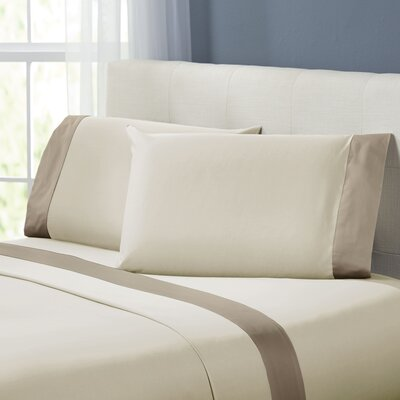 Bilbrey 400 Thread Count Sheet Set Size: Queen, Color: Linen / Mocha