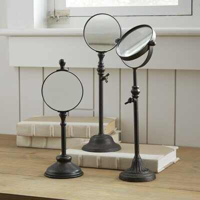 Turn of the Century 3 Piece Metal Magnifying Mirror on Stand Set