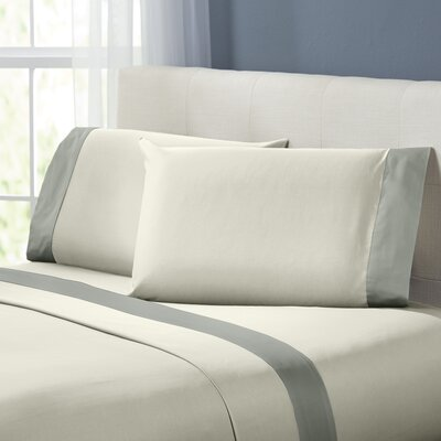 Bilbrey 400 Thread Count Sheet Set Size: Full, Color: White / Gray
