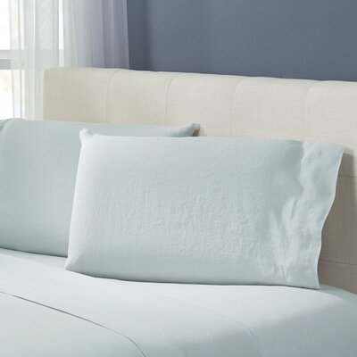 Bernadette Washed Belgian Linen Pillowcases Color: Seafoam
