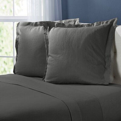 Bernadette Washed Belgian Linen Euro Shams Color: Slate Gray