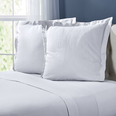 Bernadette Washed Belgian Linen Euro Shams Color: Eggshell White