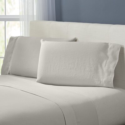 Bernadette Washed Belgian Linen Sheet Set Color: Stone, Size: California King