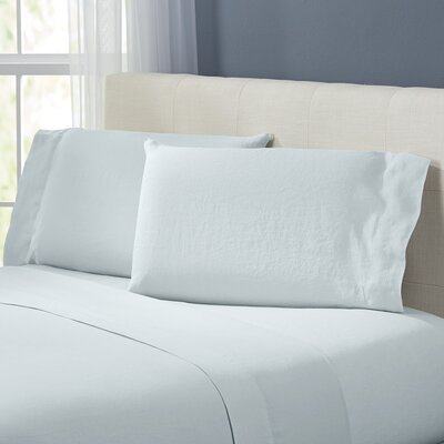 Bernadette Washed Belgian Linen Sheet Set Color: Seafoam, Size: Queen