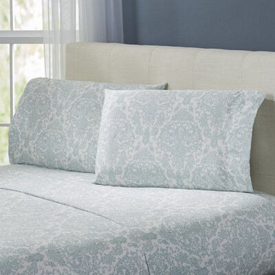 Fresnay Damask 300 Thread Count 100% Cotton Sheet Set Color: Blue, Size: California King