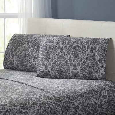 Fresnay Damask 300 Thread Count 100% Cotton Sheet Set Color: Gray, Size: Queen