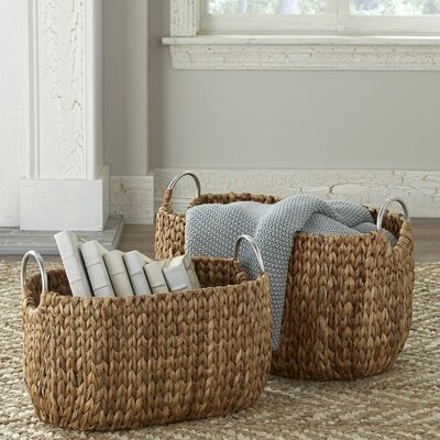 Water Hyacinth 2 Piece Oval Basket Set
