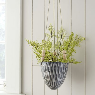 Ashok Round Ceramic Hanging Planter Color: Gray