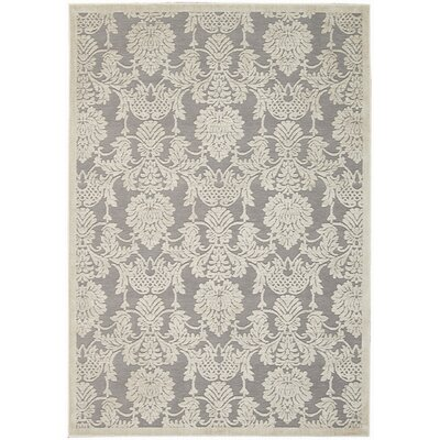 Lisa Ivory/Gray Area Rug Rug Size: Rectangle 53 x 75