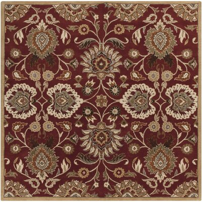 Phoebe Brick Tufted Wool Area Rug Rug Size: Square 4'