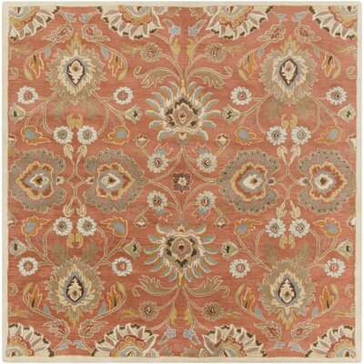 Phoebe Burnt Orange Hand-Woven Wool Area Rug Rug Size: Square 4
