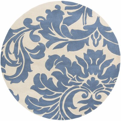 Diana Hand-Woven Denim/Cream Area Rug Rug Size: Round 6