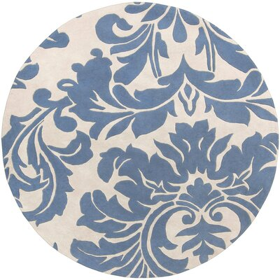 Diana Hand-Woven Denim/Cream Area Rug Rug Size: Round 8