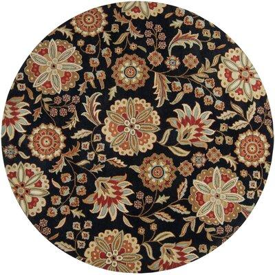 Jasmine Black Rug Rug Size: Round 8'