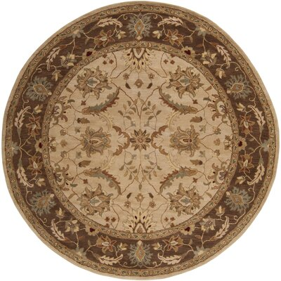 Florence Hand-Woven Brown Area Rug Rug Size: Round 8