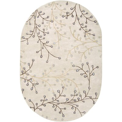 Layla Hand-Woven Natural Area Rug Rug Size: Oval 6 x 9