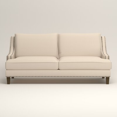 Larson Sofa with Toss Pillows Upholstery: Microsuede Oyster