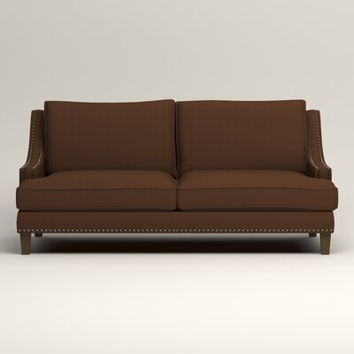 Larson Sofa with Toss Pillows Upholstery: Microsuede Chocolate