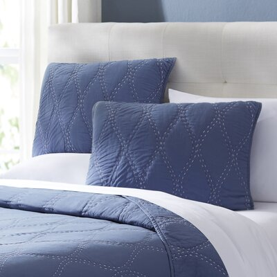 Charlotte Quilted Sham Size: Standard, Color: Navy