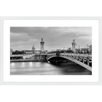 Paris Bridge Alexandre, Framed Paper Print Frame Color: White, Size: 19