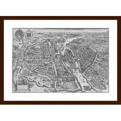 Paris Vintage Map, Framed Paper Print Size: 14